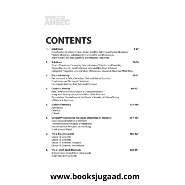 Contents of Exam master AHSEC Class 12 Chemistry