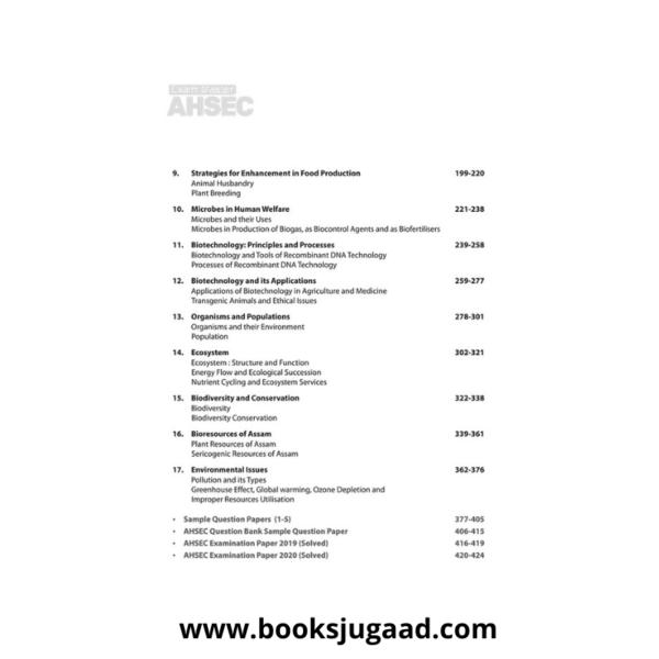 Contents of Exam master AHSEC Class 12 Biology